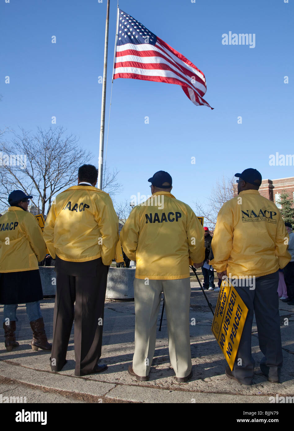 Rally for More Diversity and Civilian Oversight of Police Force - Stock Image