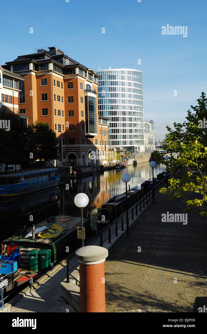 The Floating Harbour viewed from Temple Bridge towards Trinity Quay, Bristol, England, United Kingdom. - Stock Image