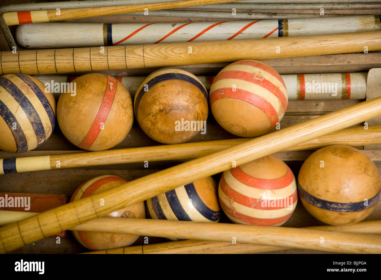 Old Wooden Croquet Game Set In A Box Stock Photo 28687018 Alamy