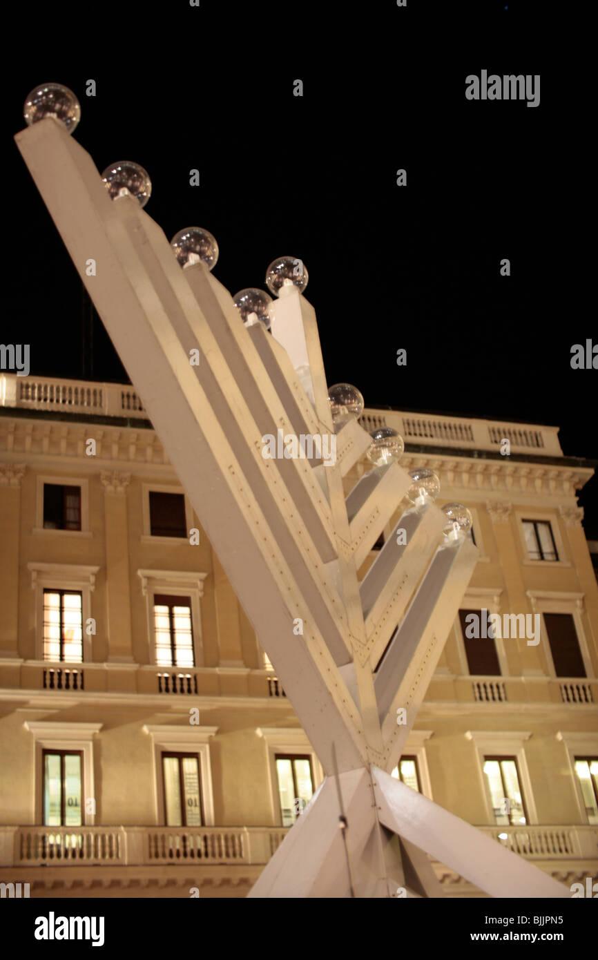 Italy, Milan, Hannukah Menorah - Stock Image