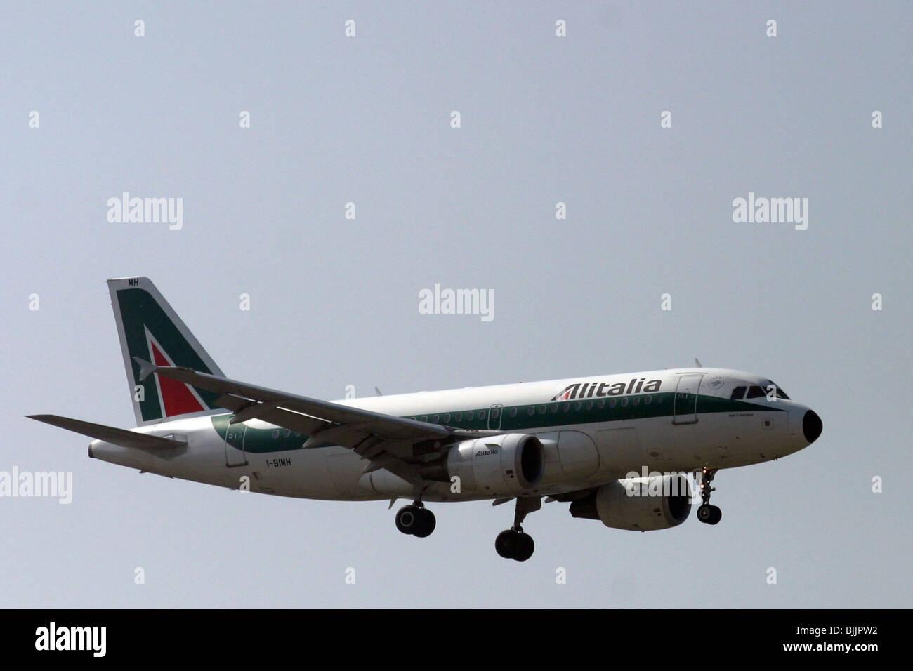 Italy, Milan, Linate Airport, Alitalia passenger jet at landing - Stock Image