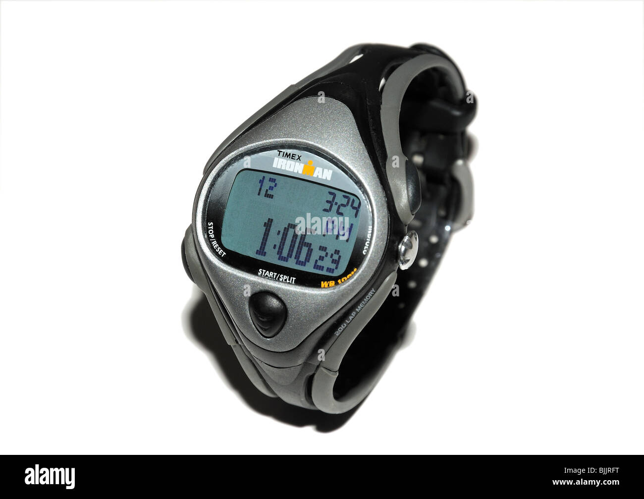 Man's sport wristwatch with timer controls Stock Photo