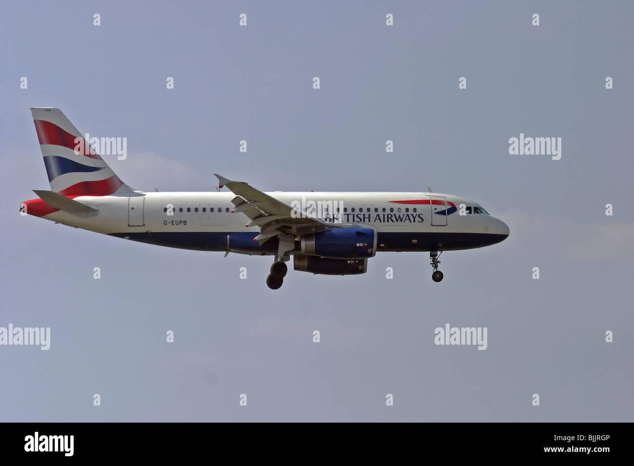 Italy, Milan, Linate Airport, British Airways passenger jet - Stock Image