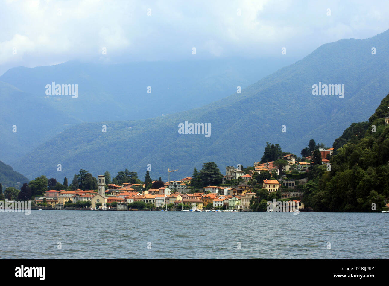 Italy, Lombardy, Lake Como the city of Como as seen from the lake - Stock Image