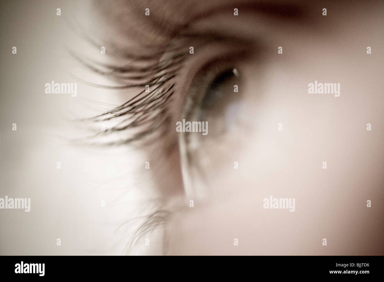 Close-up of woman's eye and eyelashes looking off in distance, soft and fuzzy, monochromatic - Stock Image