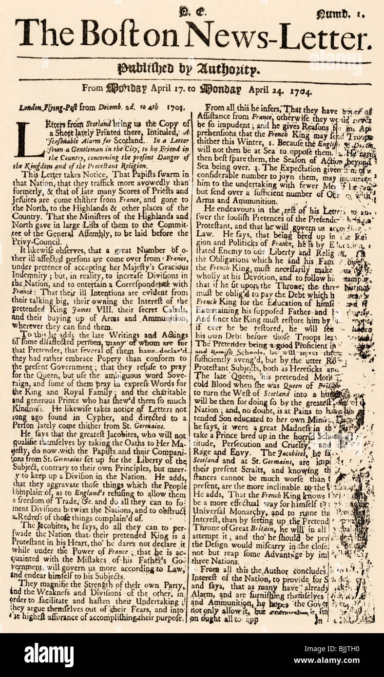 First issue of the Boston News-Letter, April 14, 1704. Woodcut with a watercolor wash - Stock Image