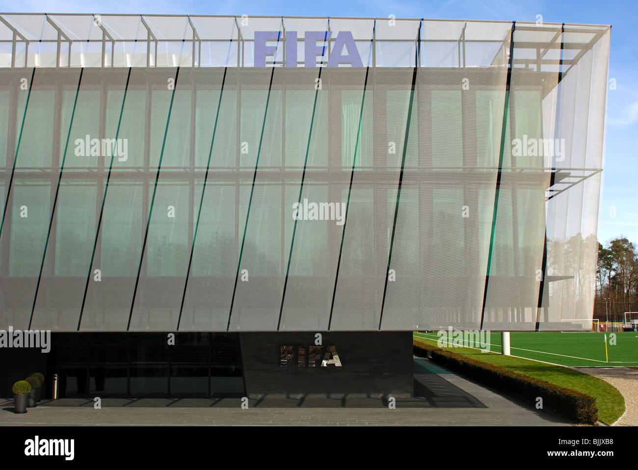 Sun protection net on the Home of FIFA, headquarters of the international governing body of association football, - Stock Image