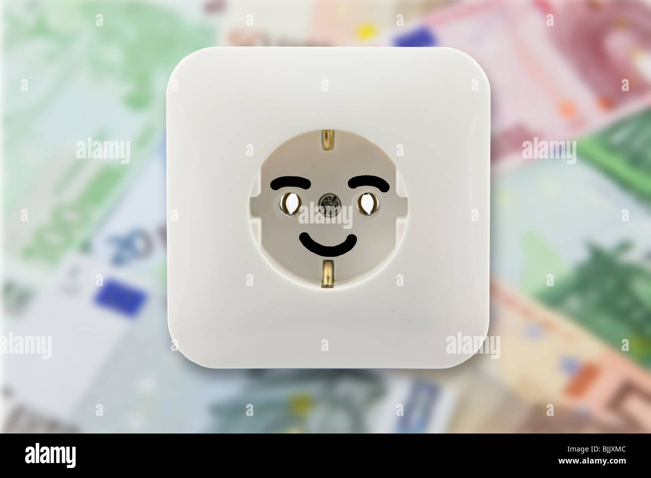 Symbolic image for cheap electricity, happy about a low electricity bill - Stock Image
