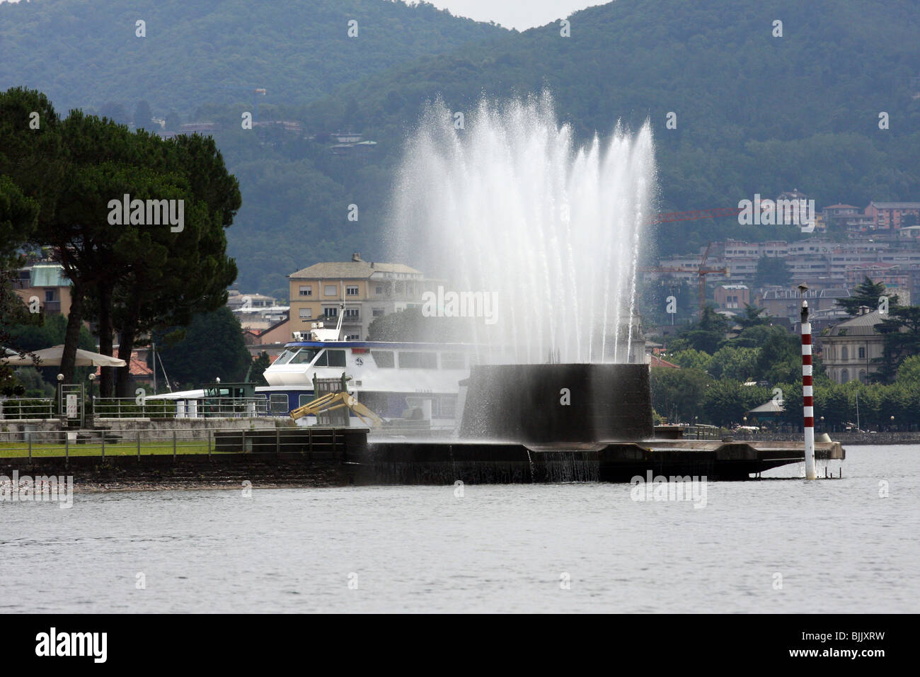 Italy, Lombardy, Lake Como fountain - Stock Image