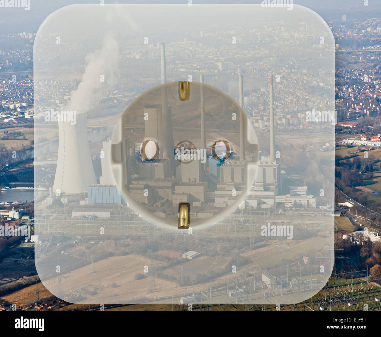 Symbolic image for electricity from nuclear power plants - Stock Image