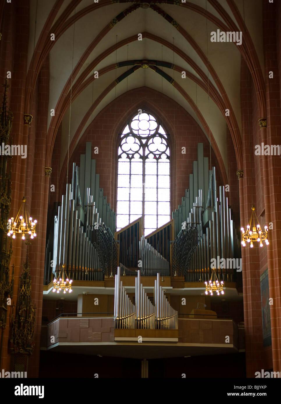 Imperial Cathedral of Saint Bartholomew, Frankfurt cathedral organ, Frankfurt, Hesse, Germany, Europe - Stock Image