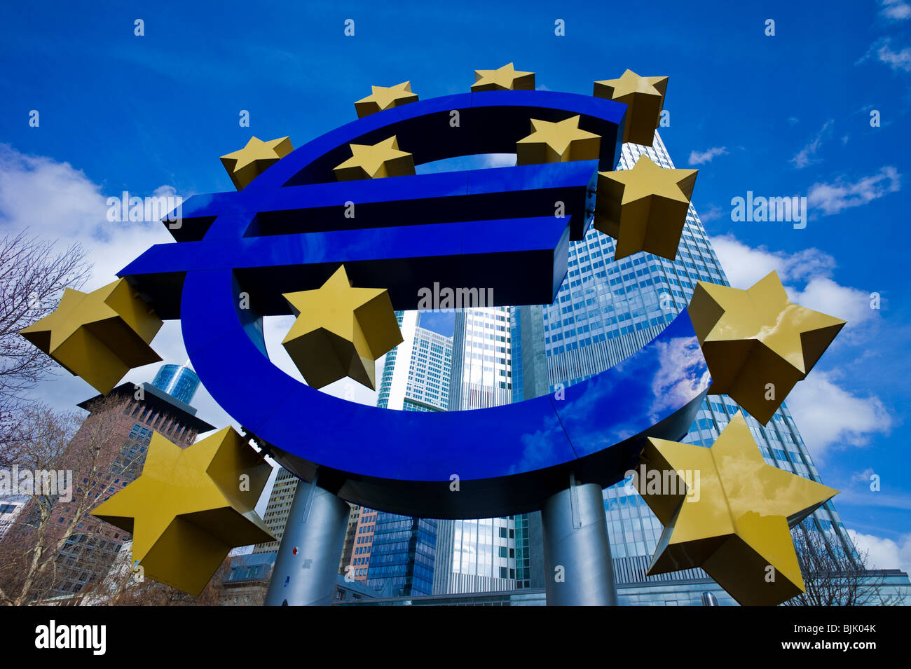 Symbol of the euro currency in front of the European Central Bank, ECB, Eurotower, Frankfurt am Main, Hesse, Germany, - Stock Image