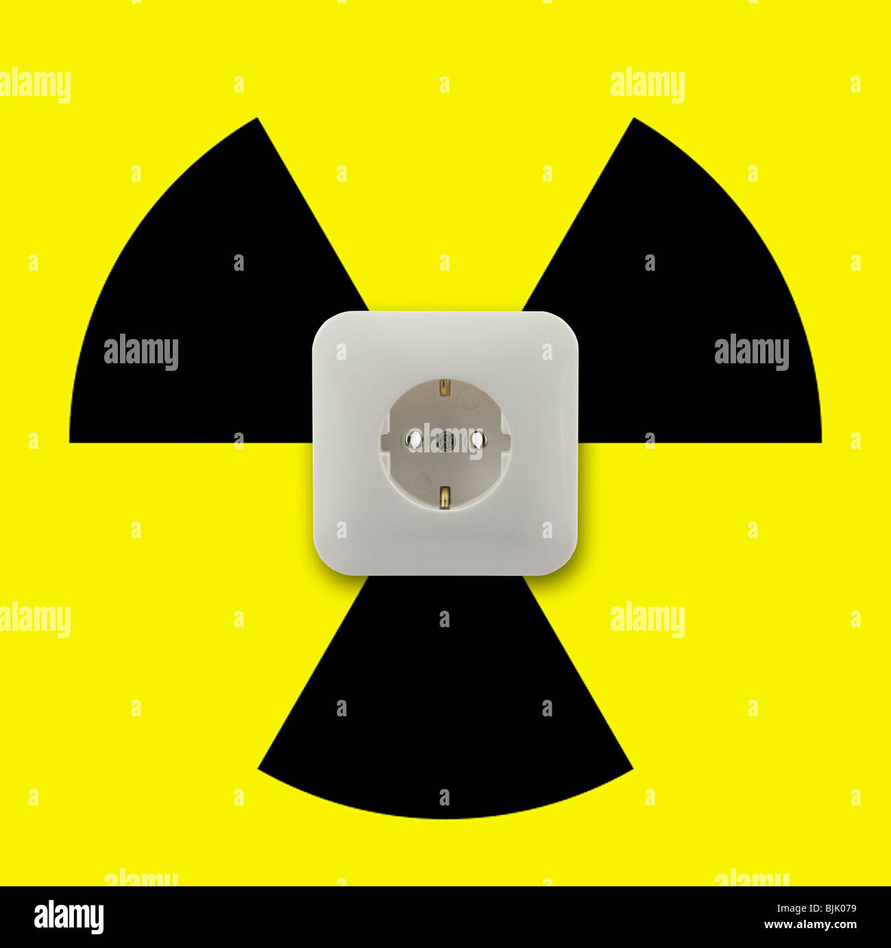 Symbolic image for electricity from nuclear energy, nuclear power - Stock Image