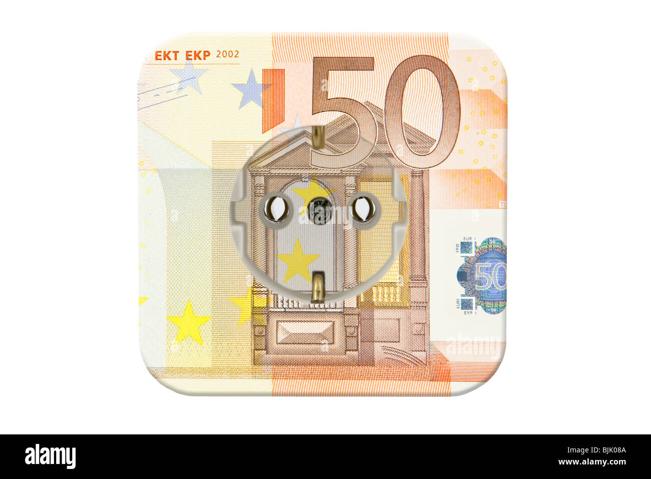 Electric socket and a 50 euro banknote, symbolic image for high electricity costs Stock Photo