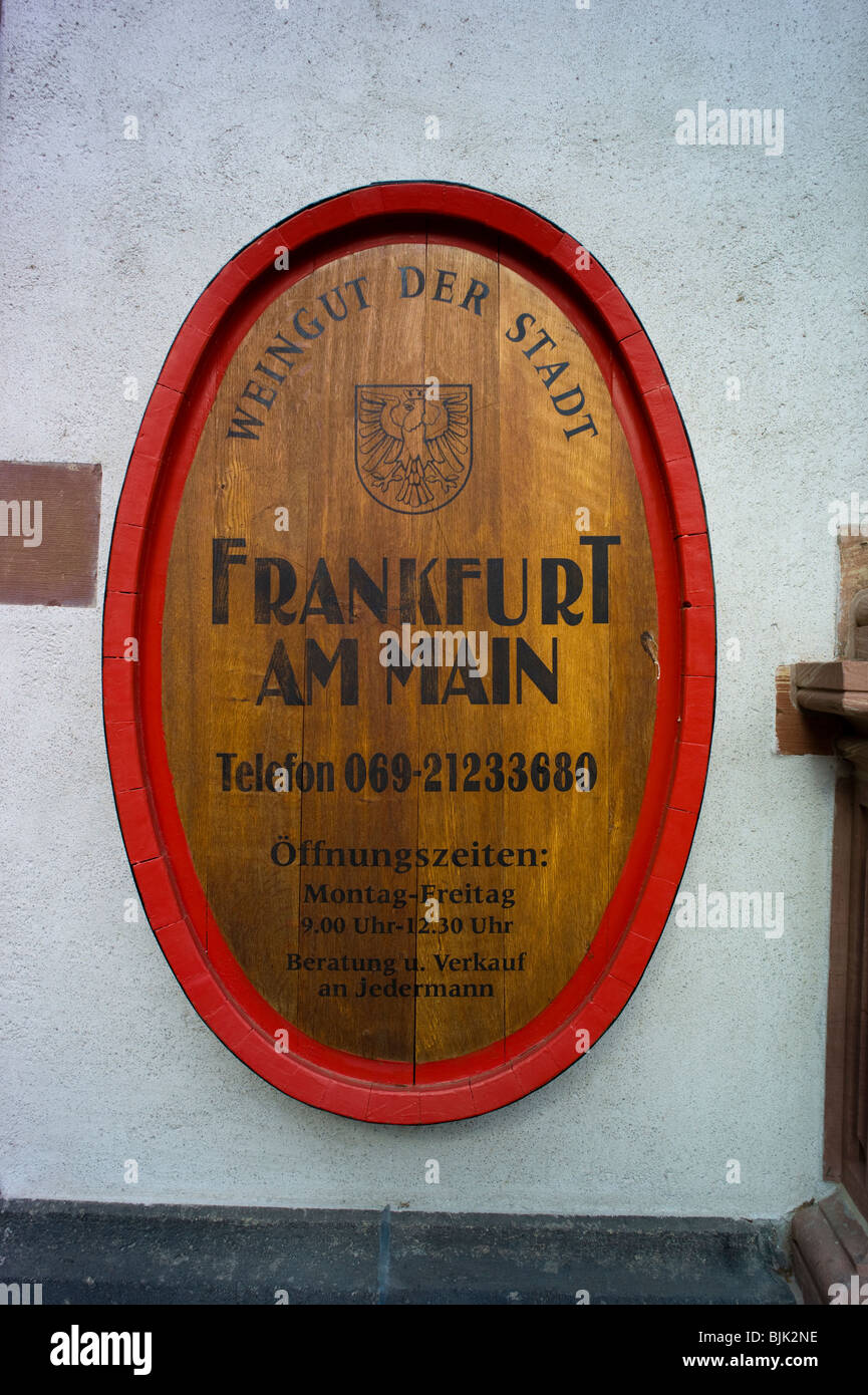 Winery of the City of Frankfurt, sign, Frankfurt, Hesse, Germany, Europe - Stock Image