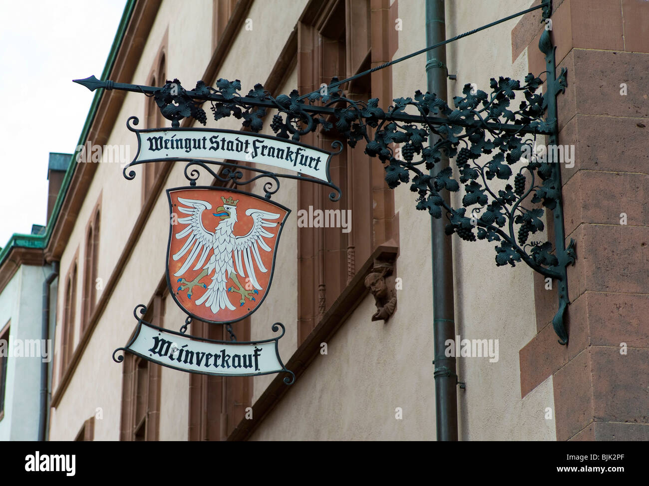 Winery of the City of Frankfurt, sign, Frankfurt, Hesse, Germany, Europe Stock Photo