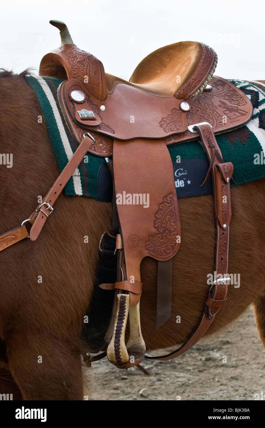 An image of a western leather riding saddle - Stock Image