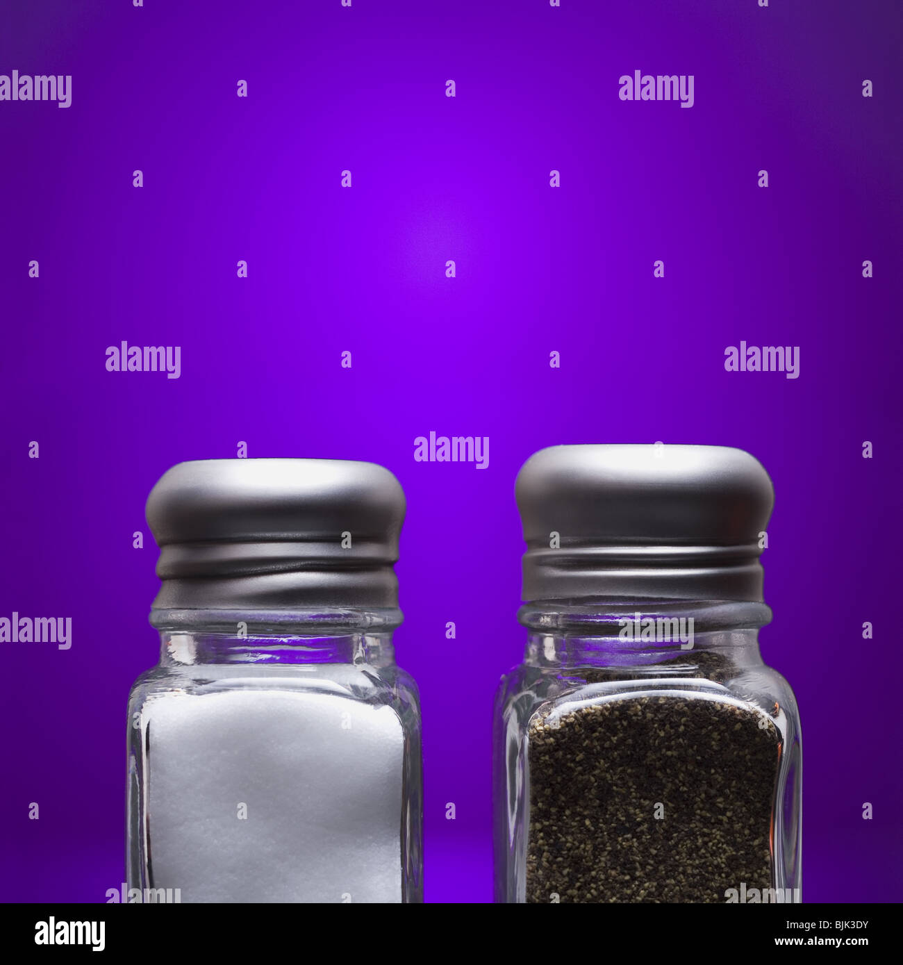 Salt and pepper shakers close-up - Stock Image