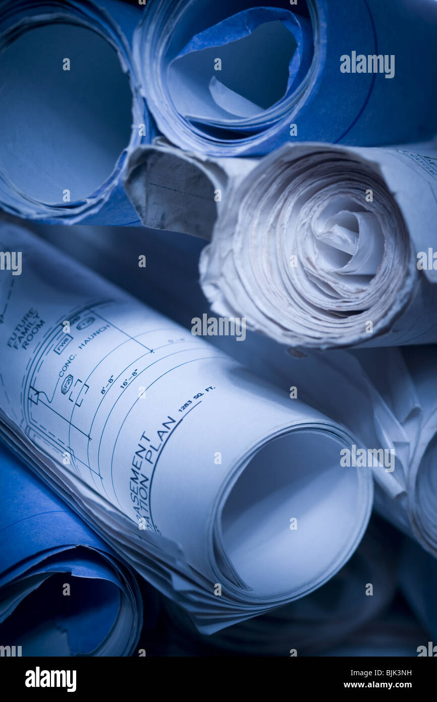 Rolled blueprints - Stock Image