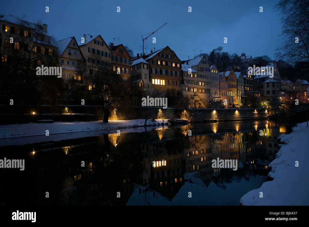 Tübingen in winter and snow during blue hour - Stock Image