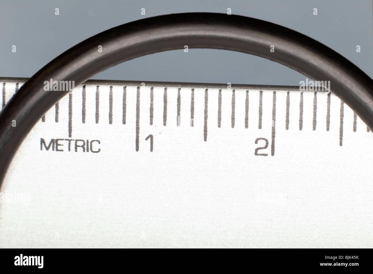 Measuring an O Ring Stock Photo