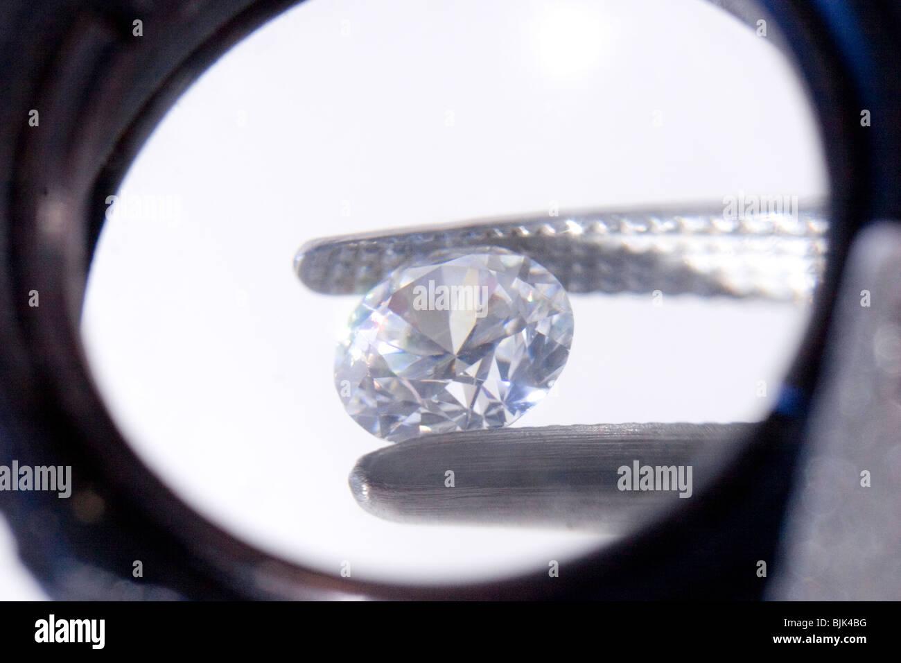 Gemstone Through a Loupe Stock Photo