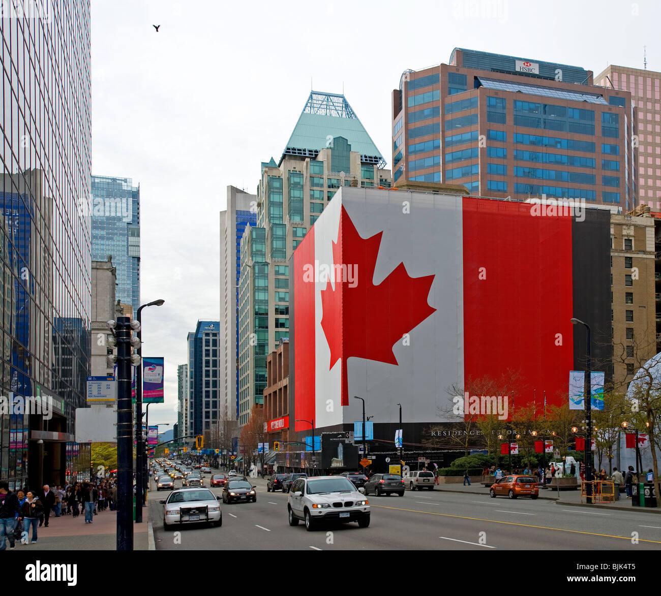Vancouver Bc Canada: West Georgia Street Downtown Vancouver, BC Canada, With A