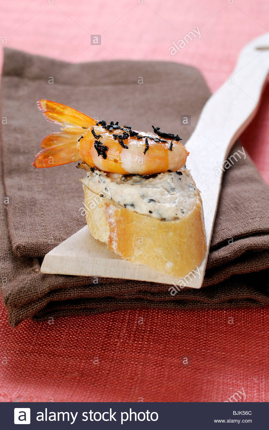 Appetiser with tea mousse and shrimp - Stock Image
