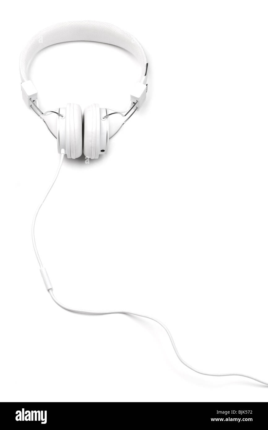 White elegance headphones with cord isolated on white background. White on white series. Vertical composition. - Stock Image