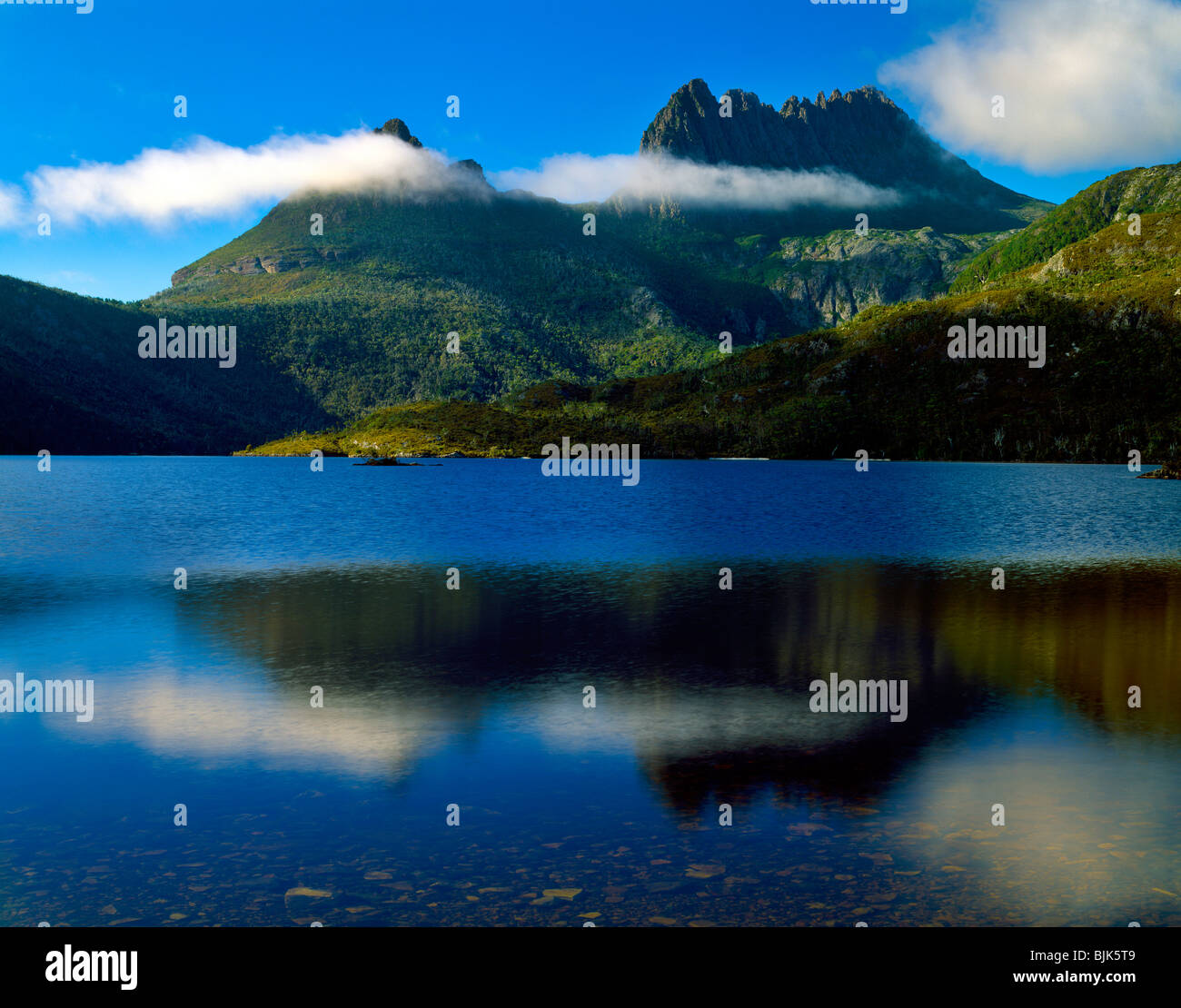 Cradle Mountain and Lake Dove, Cradle Mountain-Lake St. Clair National Park. Tasmania. Australia, Morning, 15 H - Stock Image