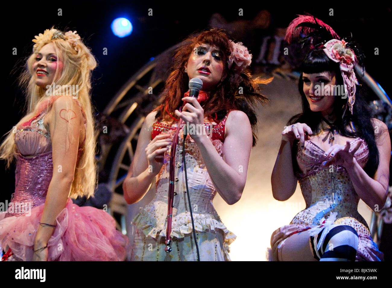 Singers and dancers from Emilie Autumn's live show at her only Swiss concert in Club Haerterei in Zurich, Switzerland, - Stock Image