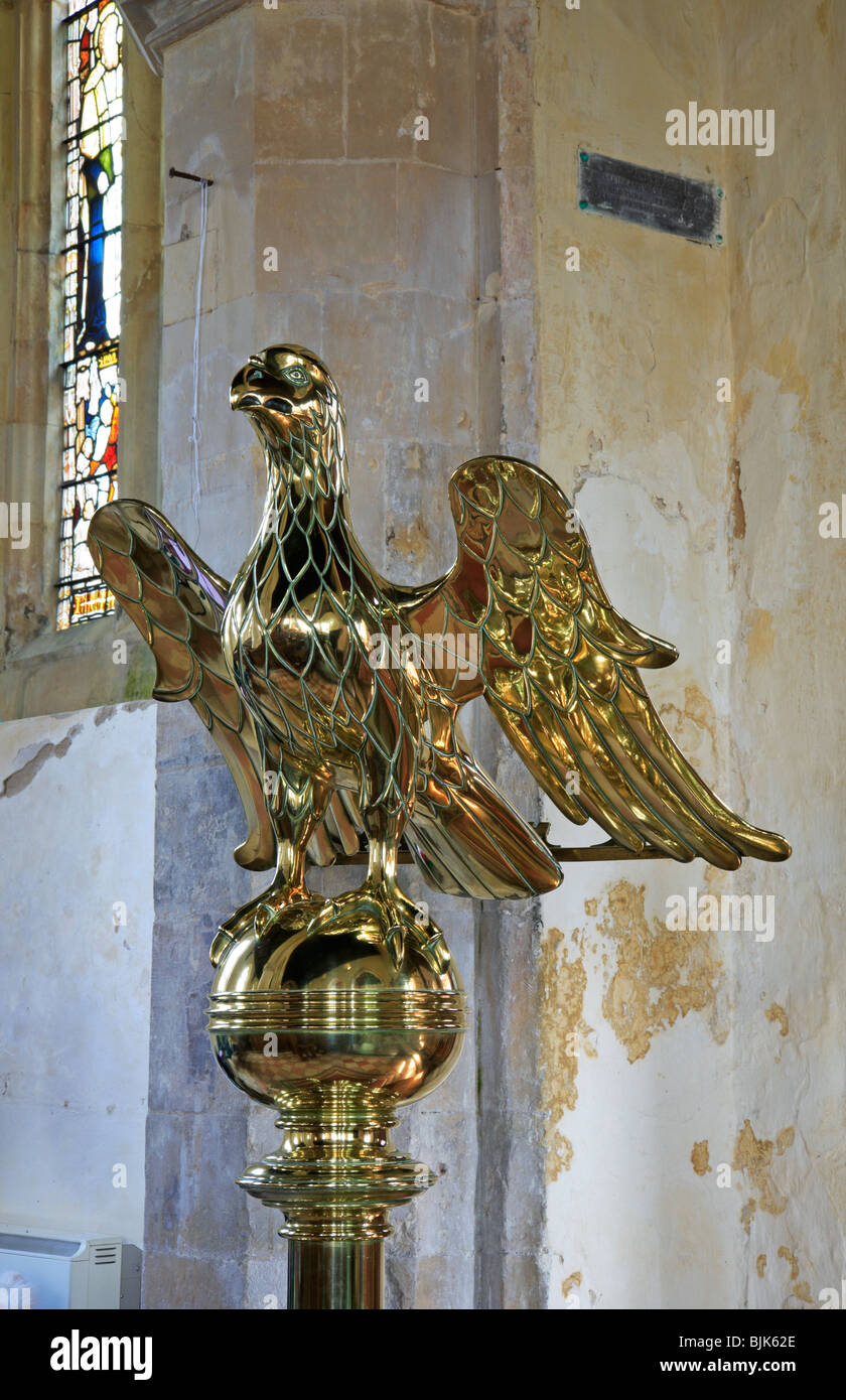 Lectern in the style of an eagle in the Church of All Saints at Filby, Norfolk, United Kingdom. - Stock Image