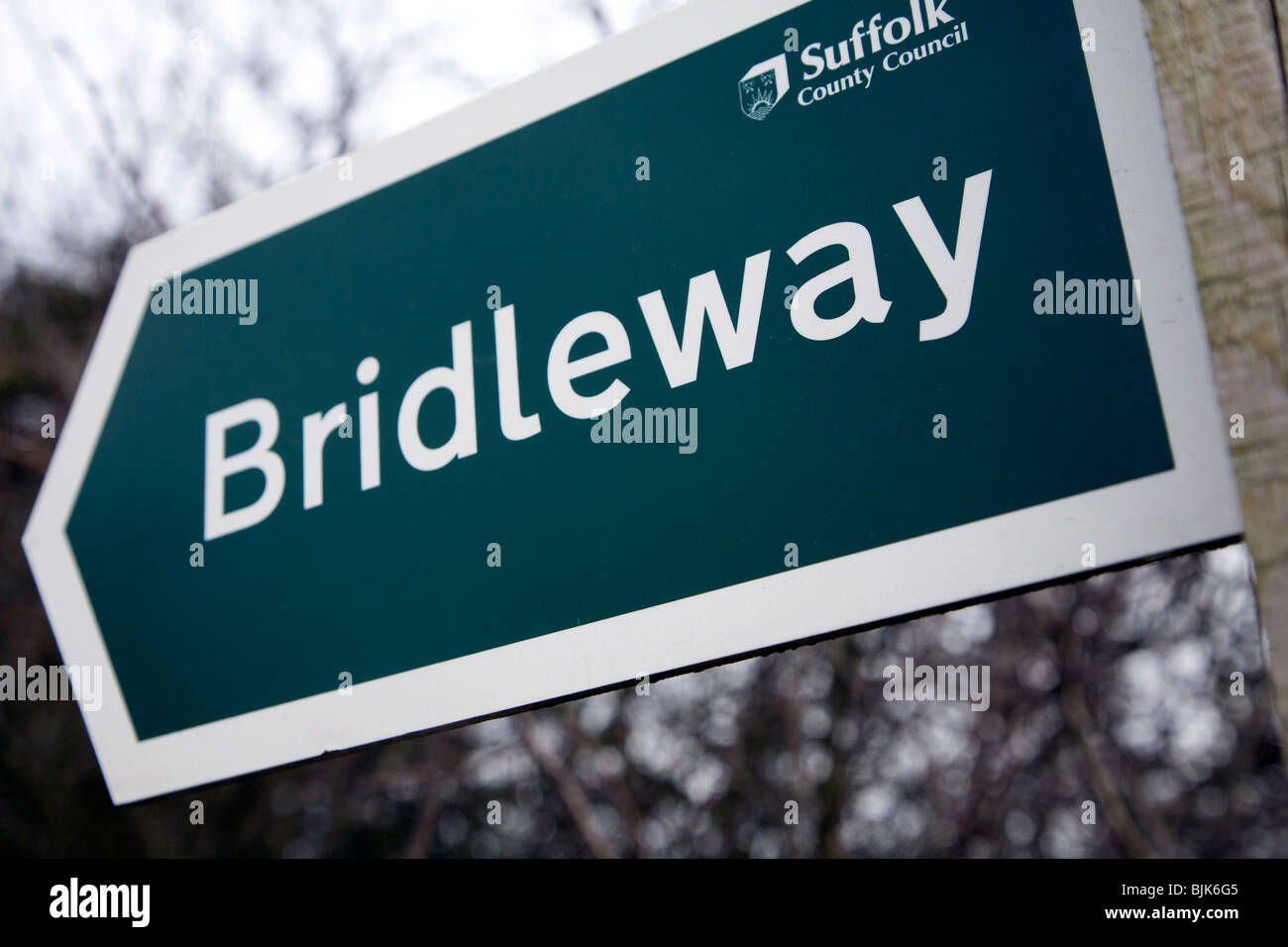 Bridleway sign Suffolk County Council - Stock Image