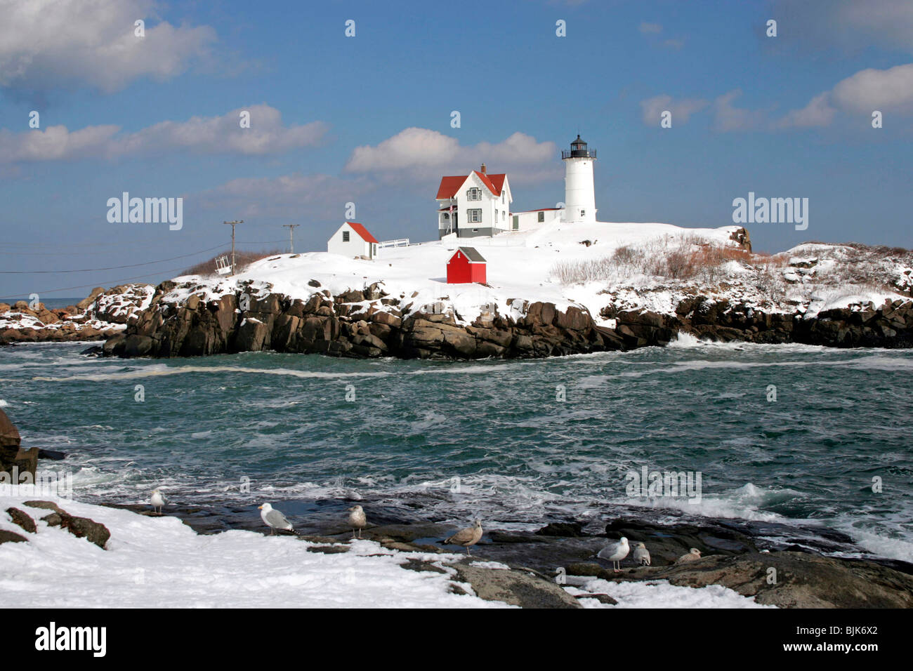 Enjoyable Nubble Light Lighthouse Winter Snow York Maine New Download Free Architecture Designs Scobabritishbridgeorg