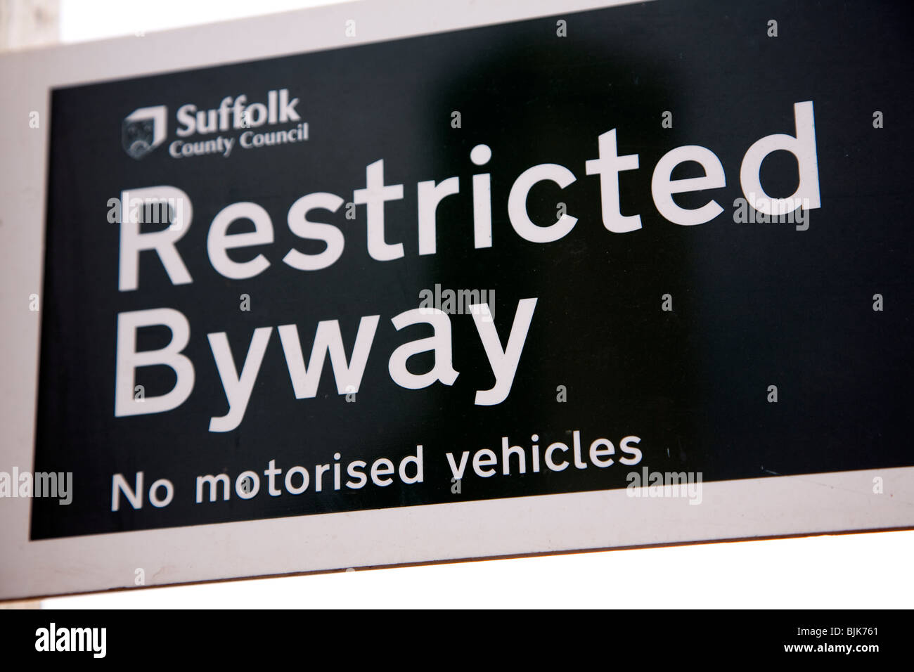 Restricted Byway sign No motorised vehicles - Stock Image