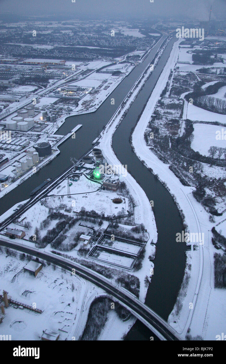 Aerial, Datteln-Hamm Canal in the snow, Lippe River, Lippe treatment plant, Hamm, Ruhr area, North Rhine-Westphalia, - Stock Image