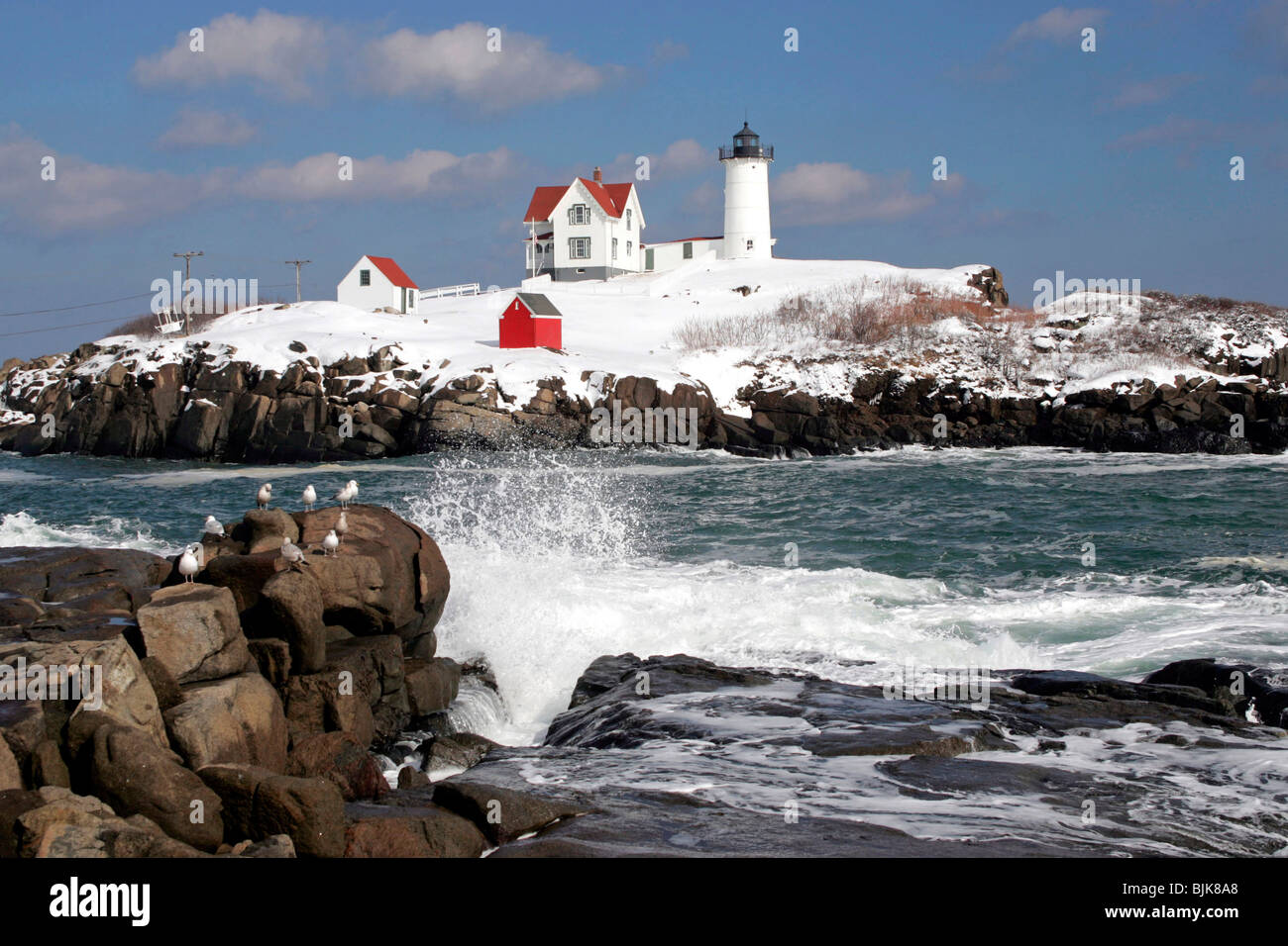 Pleasing Nubble Light Lighthouse Winter Snow York Maine New Download Free Architecture Designs Scobabritishbridgeorg