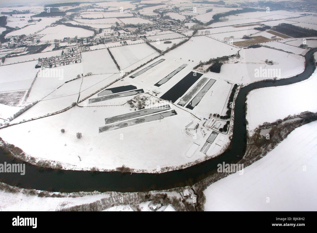Aerial view, fisheye, Ruhr river, Warmen water works, waterworks Hamm, Waldemey, Froendenberg, Ruhrgebiet area, - Stock Image