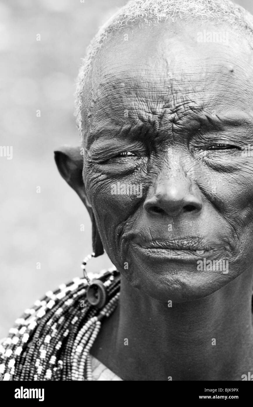 Portrait of an old African lady. Editorial use only - Stock Image