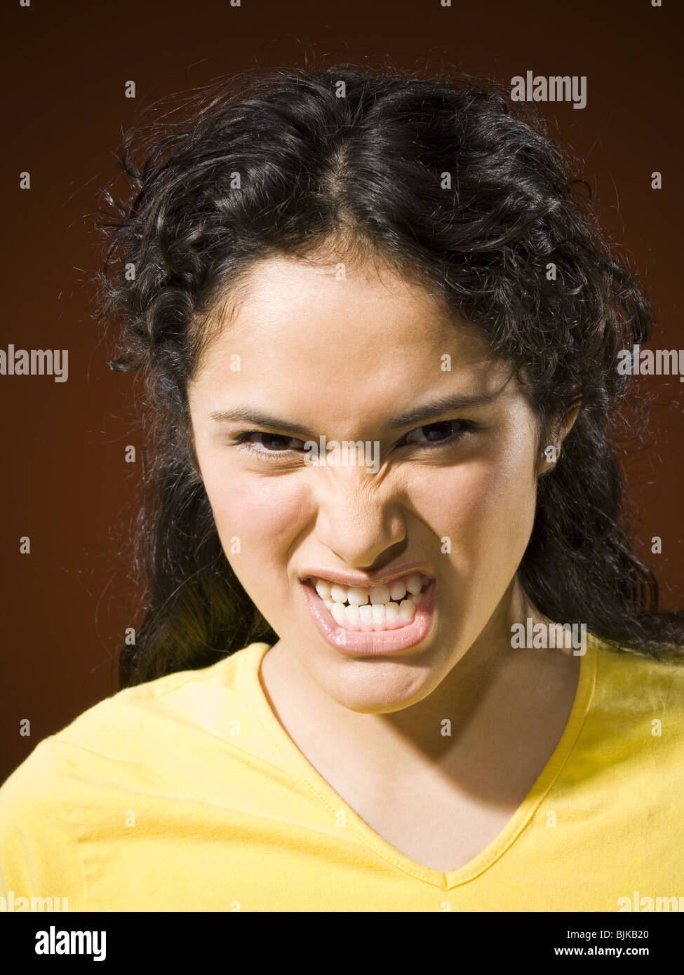 snarling person
