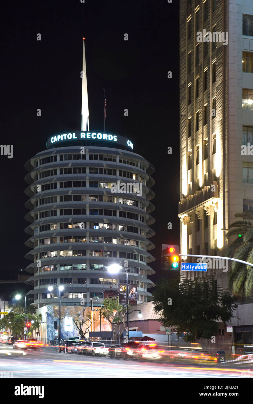 The Capitol Records building on Hollywood Boulevard, Hollywood, California, USA (Night View) - Stock Image