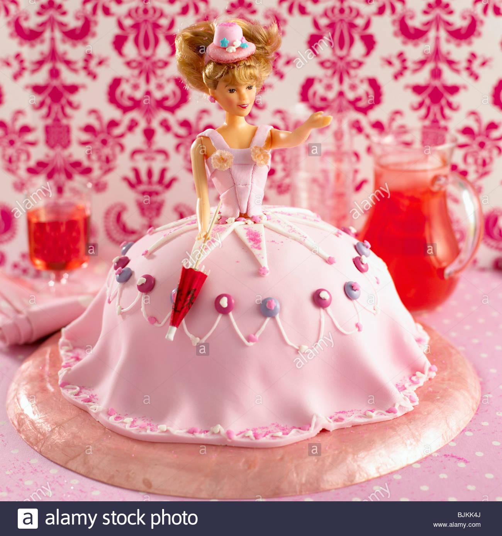 Barbie Doll Birthday Cake Decorated Stock Photos Barbie Doll