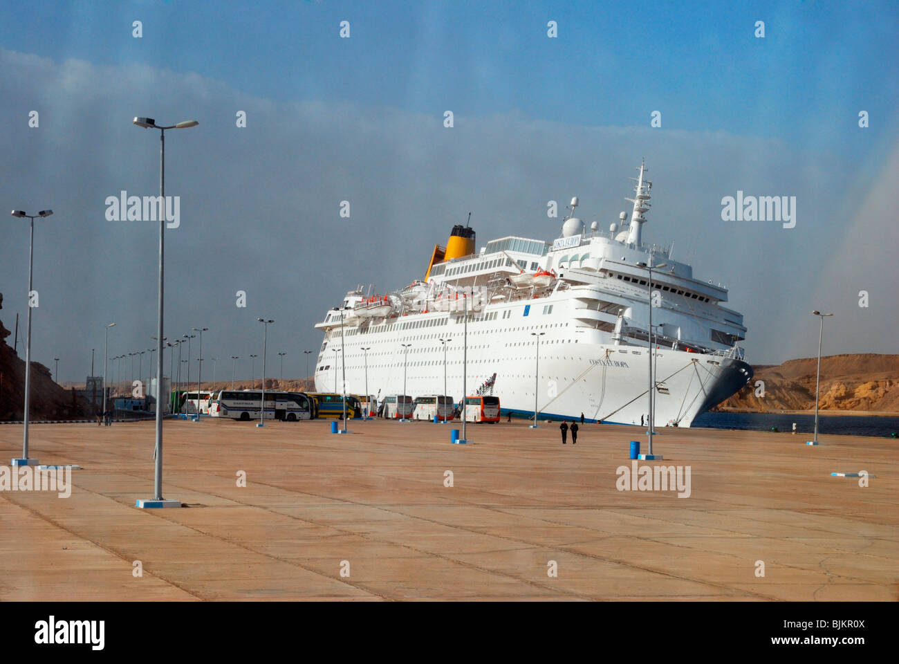 Listing COSTA EUROPA cruise ship after crashing into the quay, pier of Sharm el Sheikh on 26 February 2010, Egypt, - Stock Image