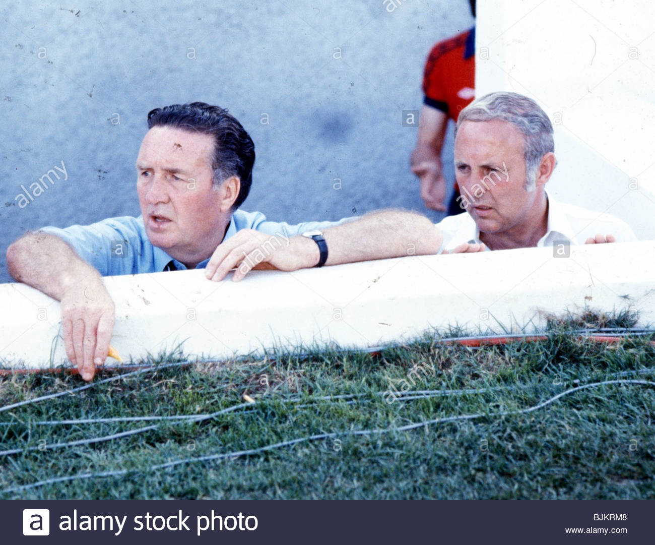 WORLD CUP 1982 SCOTLAND Manager Jock Stein and his assistant Jim McLean watch the Scotland team perform during the - Stock Image