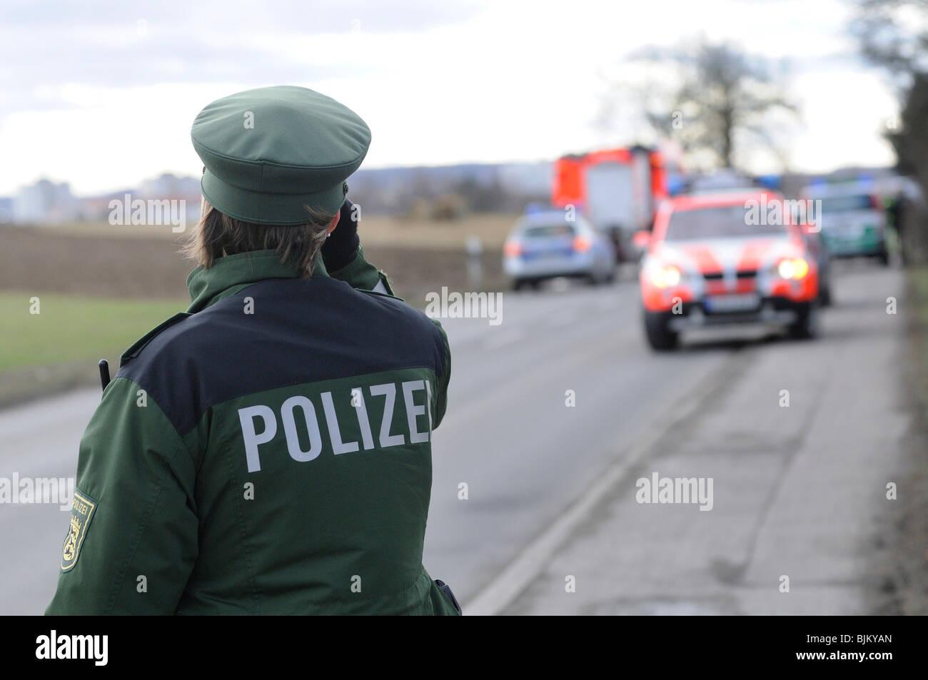 Police officer on duty location, Stuttgart, Baden-Wuerttemberg, Germany, Europe Stock Photo