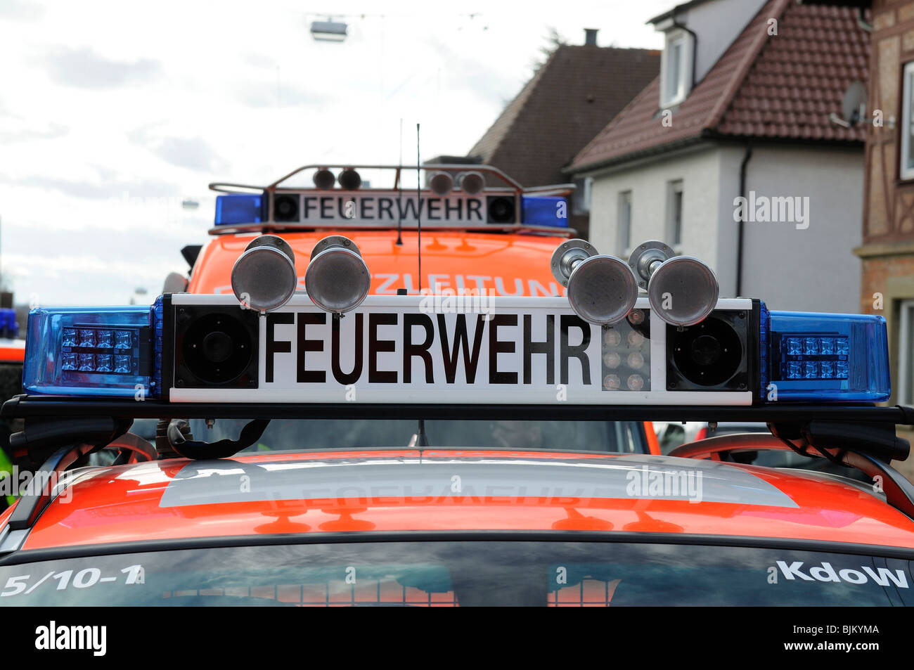 Fire brigade signalling system with blue lights and lettering 'Feuerwehr' on a fire-engine, Stuttgart, Baden - Stock Image