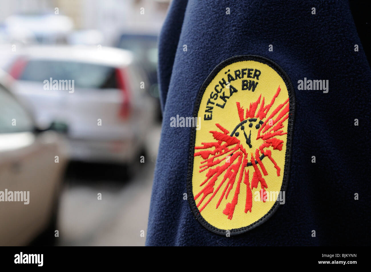 "Outerwear, embroidered logo ""Entschaerfer - LKA BW"", defuser of the State Office, explosives expert, Stuttgart, Stock Photo"