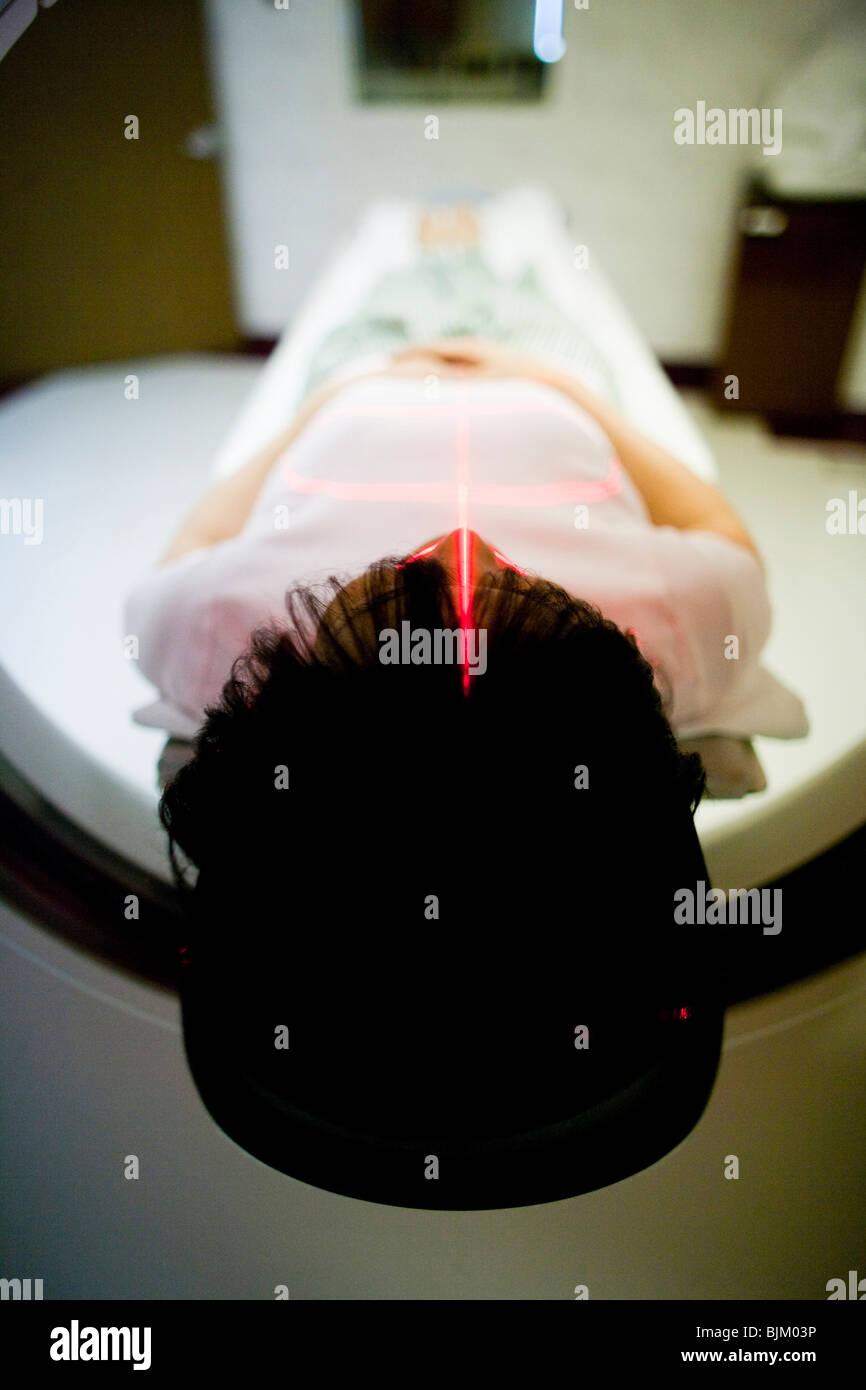 Woman having an MRI - Stock Image