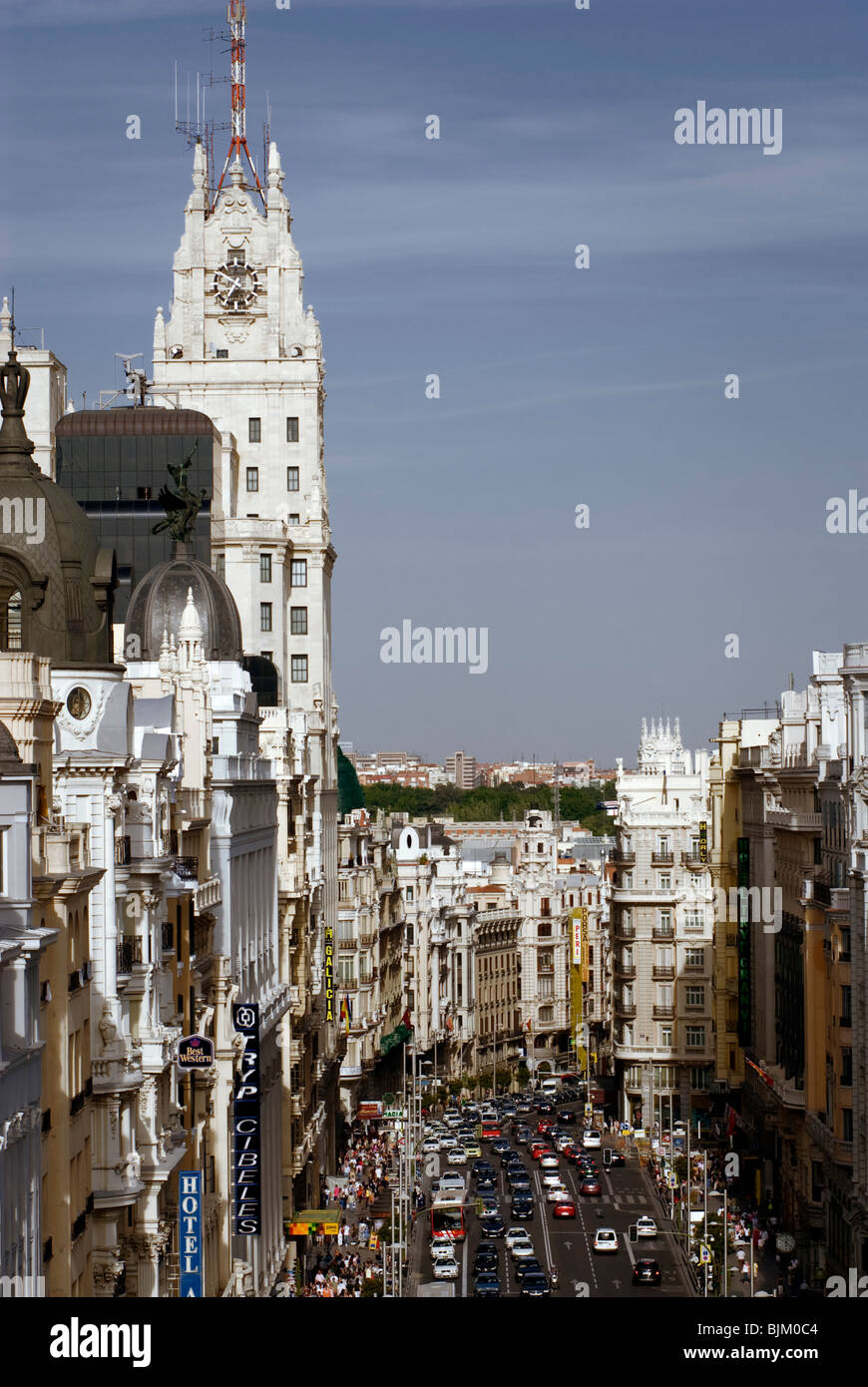 Telefonica building and Gran Via, Madrid, Spain, Europe Stock Photo
