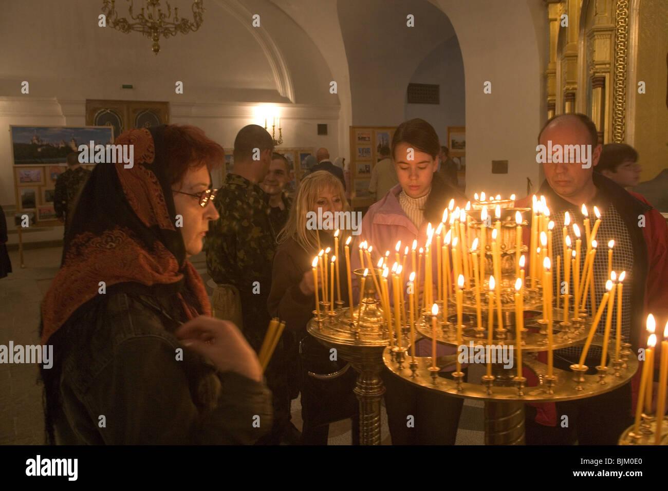 Ukraine,Crimea,Sevastopol,Chersonese Area,St. Vladimir cathedral,1861-1892,interior,Easter Holiday - Stock Image